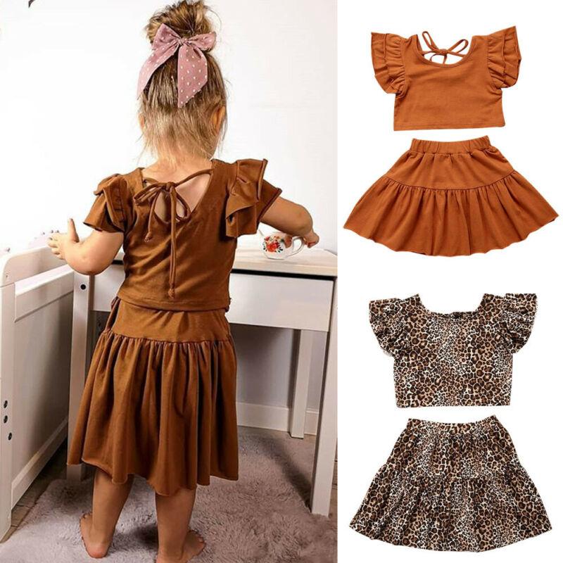 2PCS Toddler Baby Kids Girls Summer Outfits Leoaprd Top Shirt Short Skirts Set