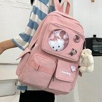 Дорожный рюкзак EnoPella Kawaii, водонепроницаемый женский рюкзак, школьная сумка для девочек, Модный женский рюкзак для колледжа, черный нейлонов...