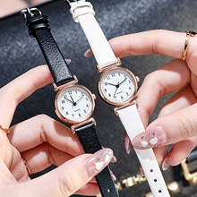 Leather Small And Neutral Watch Casual Fashion Quartz Watch Arabic Numeral Dial Silicone Strap Watch
