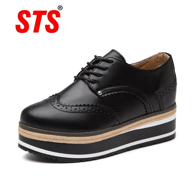 STS planos ocasionales de las mujeres zapatos de moda mocasines Cordón de zapato de cuero de las señoras aumentar zapatos de mujer zapatos plataforma Plus tamaño de calzado