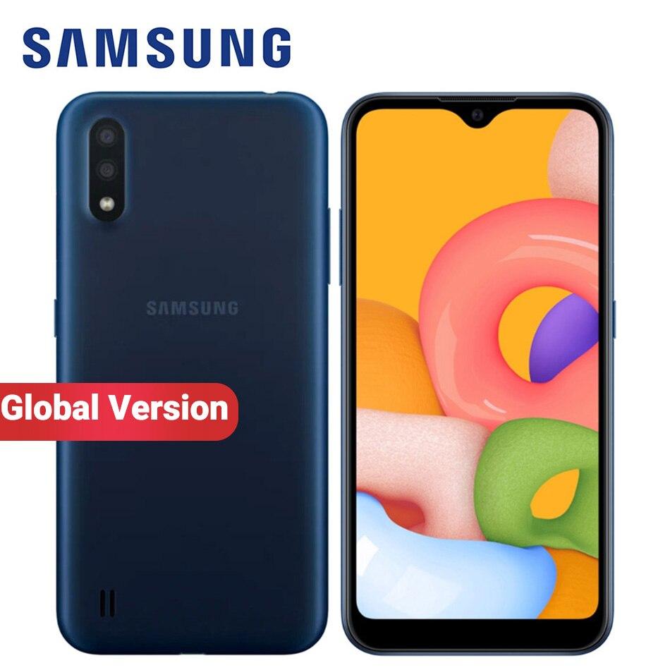 Versión Global Samsung Galaxy A01 A015F-DS teléfono móvil Dual SIM 2GB RAM 16GB ROM 5,7 pulgadas 13MP radio FM 3000mAh Smartphone 4G