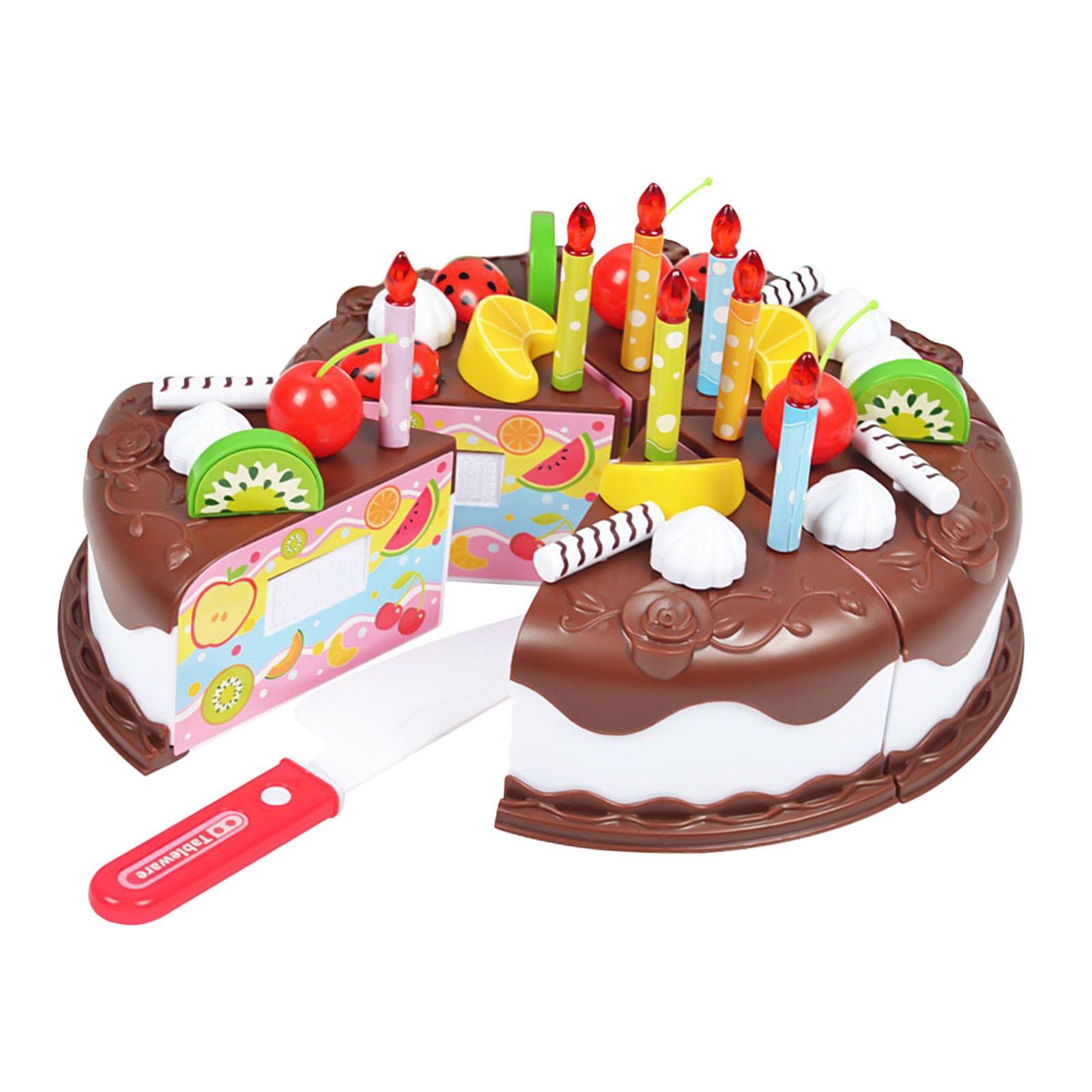 Pretend Play Food for Kids, Cutting Decorating Birthday Party Cake Toys Set with