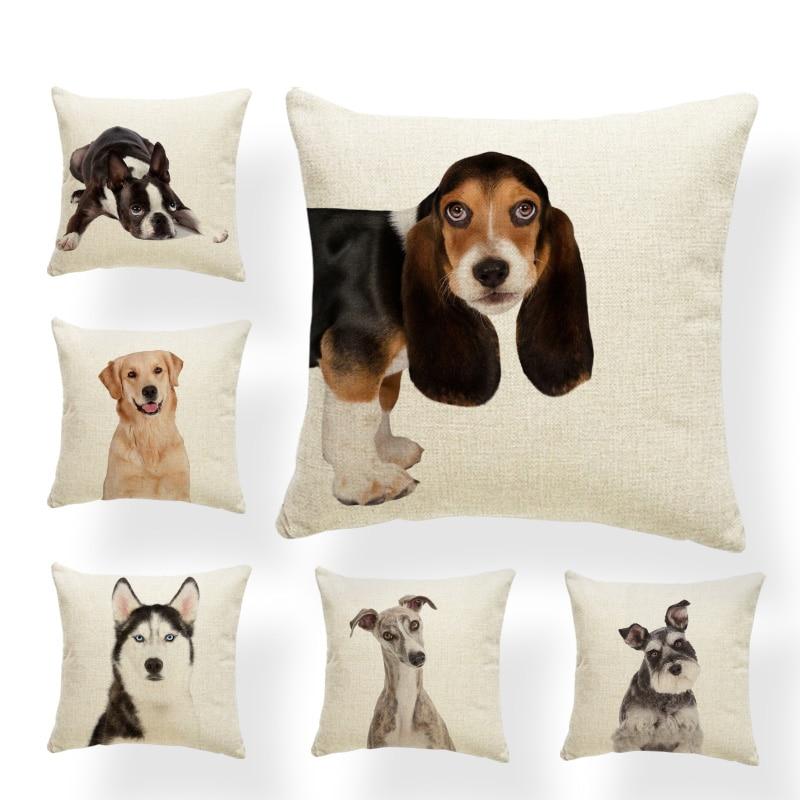 Милая подушка для собаки, чехол, Basset Hound Boston Terrier, китайская декоративная подушка для дивана, подушка для отдыха из полиэстера