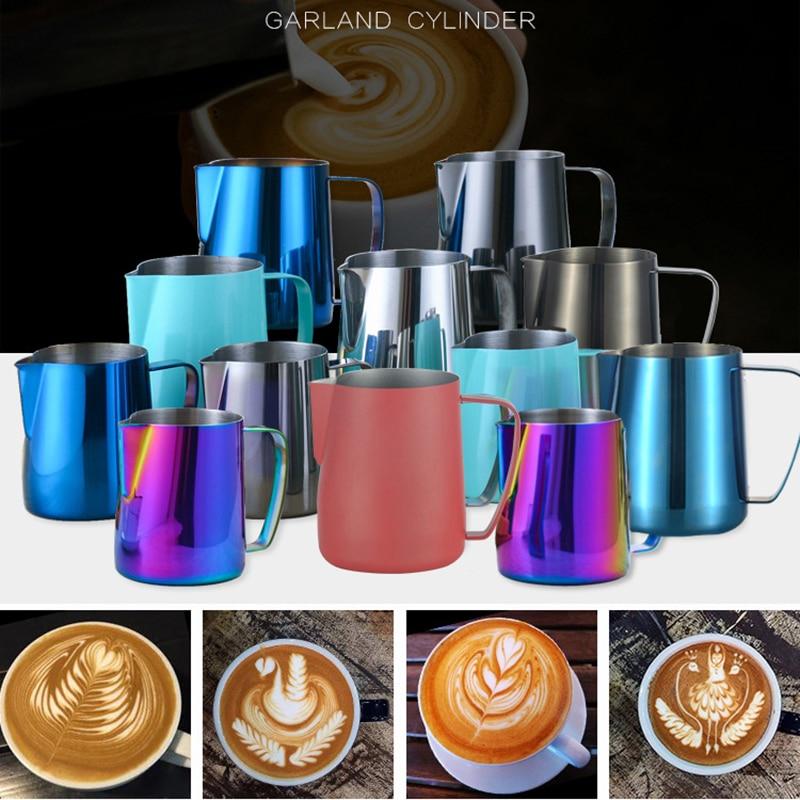 Jarra de mano de acero inoxidable para leche, jarra de café Espresso, jarra artesanal para café, Latte, jarra para espuma de leche