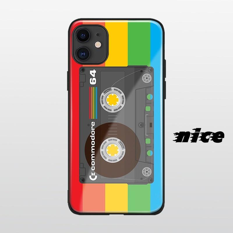 Fita cassete capa estética para iphone se 6s 7 8 x xr xs 11 pro max samsung s nota 10 20 plus caso de telefone de vidro escudo