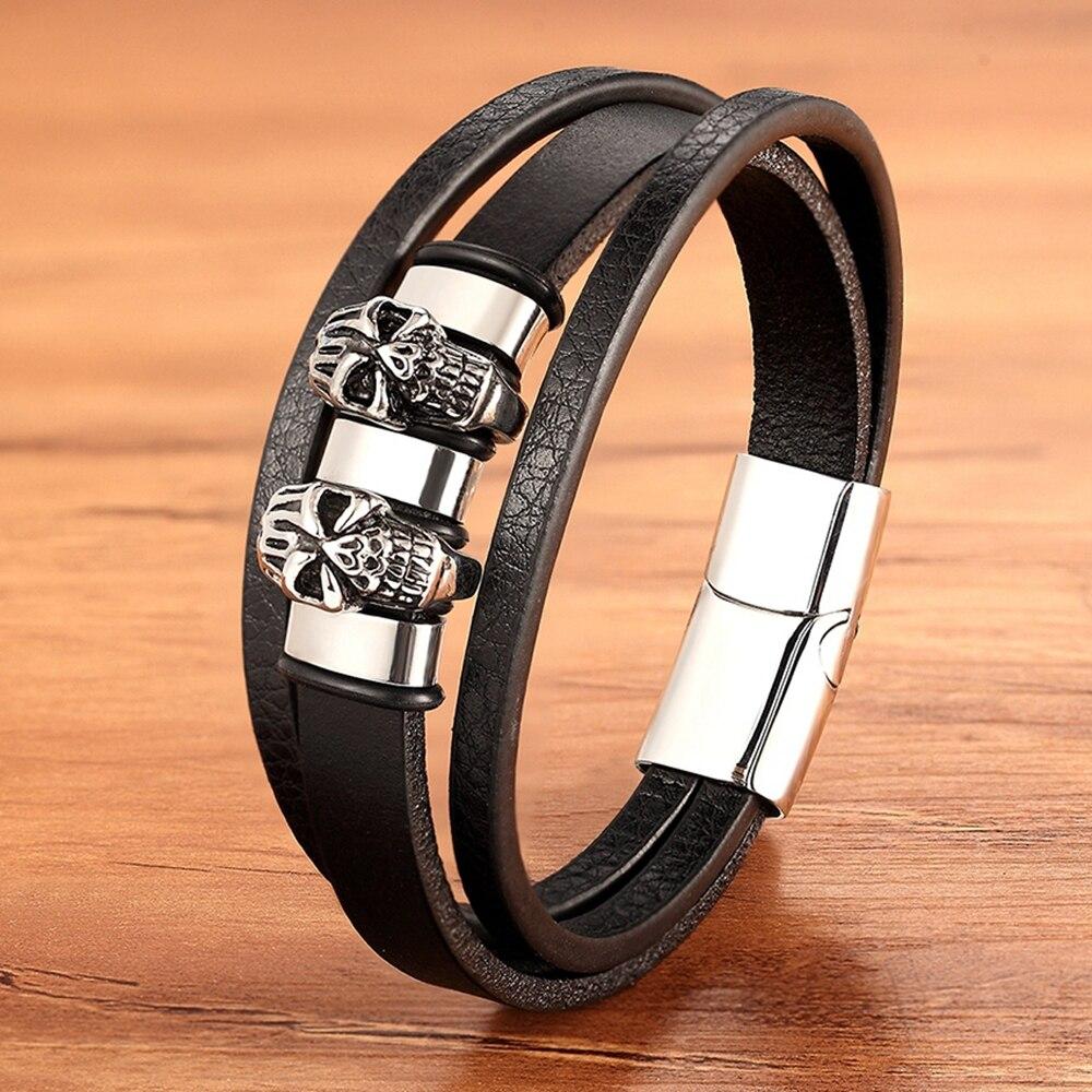 Accesorios especiales, combinación de Calavera, pulsera de cuero de acero inoxidable para hombre, cierre magnético tejido a mano, regalo de Color dorado de acero para hombre