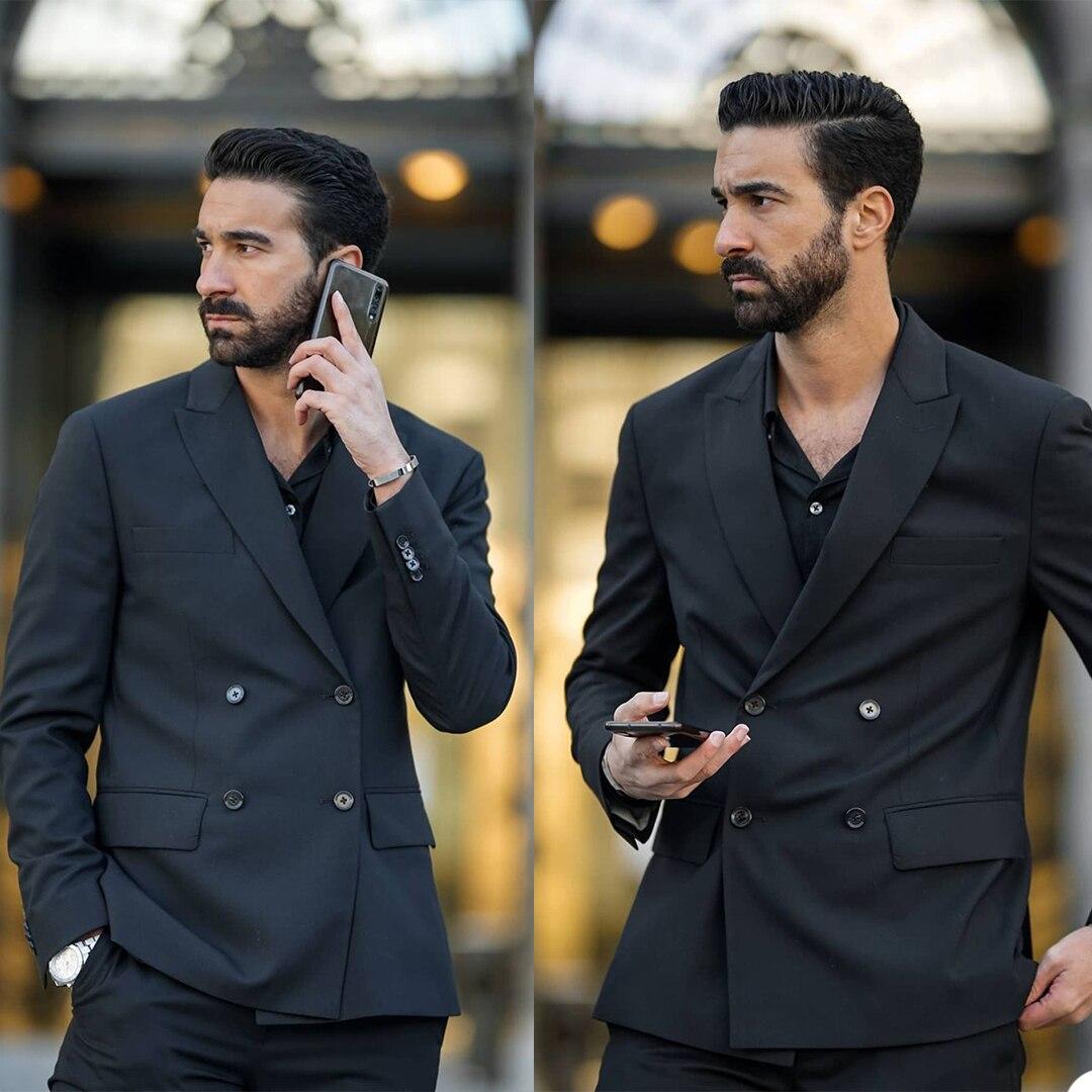 الكلاسيكية الرجال السود البدلات الرسمية مخصص مزدوجة الصدر بلغت ذروتها طية صدر السترة صالح سليم الذكية عارضة اليومية الذكور سترة 2 قطعة