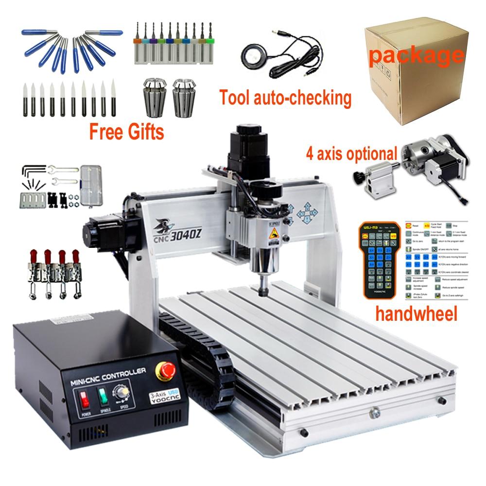Mini fresadora cnc 3040, mini fresadora de 4 ejes, control de máquina de grabado cnc de metal con volante, herramienta de husillo de 300W, control automático