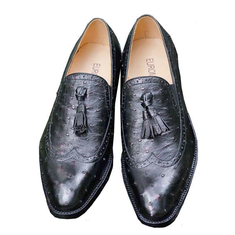 Ourui الحقيقي النعامة الجلود الأعمال الرسمي جلد الرجال أحذية للرجال أسود الأحذية الجلدية للرجال الأحذية الذكور