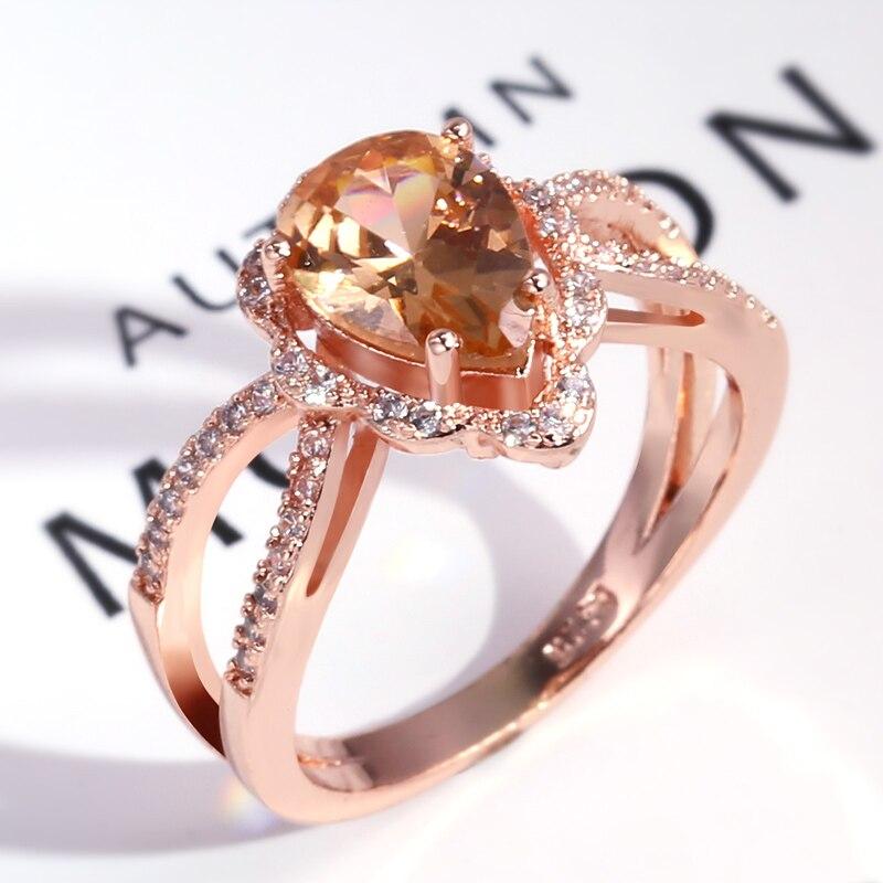 Huitan à la mode goutte deau bague de fiançailles pour les femmes de luxe Champagne en forme de poire bague de mariage avec Micro pavé femme bijou
