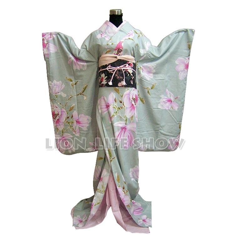 Traje de mujer japonés ligero Floral largo Furisode Kimono Cosplay