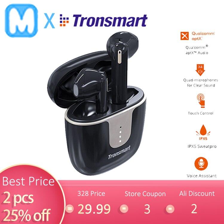 Caso presente tronsmart onyx ace tws fones de ouvido bluetooth 5.0 withqualcomm aptx wirelesssearbuds ruído cancelar 4 mic, 24 h tempo de jogo