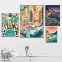 abstract moroccan villa scenery art posters and prints nordic travel landscape canvas painting color pictures decor living room