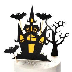 Card Black Halloween Cake Decoration Insert Castle Bat Insert Flag Cartoon Pumpkin Witch Party Birthday Festival Household Decor