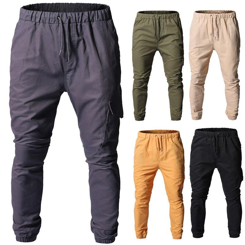 سروال كارجو طويل للرجال ، غير رسمي ، مرن ، مستقيم ، خصر منخفض ، بجيب ، برباط
