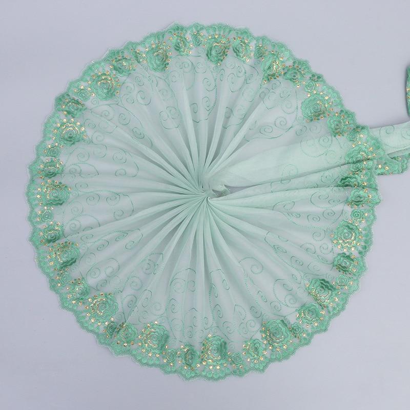 1 ярд дешевая кружевная отделка зеленый тюль вышивка кружевная ткань 21 см гипюр кружевная лента платье Швейные аксессуары ткань dentelle LT15