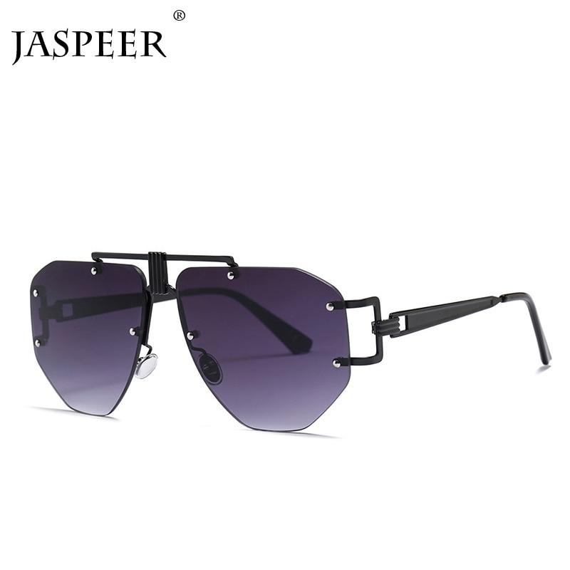 Rimless Sunglasses Men Shades Frames Oversized oculos de sol Irregular Alloy Unique Women UV400 Eyewear