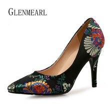 Femmes pompes talons hauts chaussures grande taille bout pointu broderie robe chaussures femme talon mince unique mariage chaussures mariée pompes faire