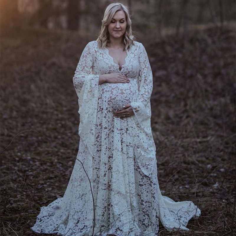 2020 Boho Style Lace Maternity Dress For Photography Maternity Photography Outfit Maxi Gown Pregnancy Women Lace Long Dress