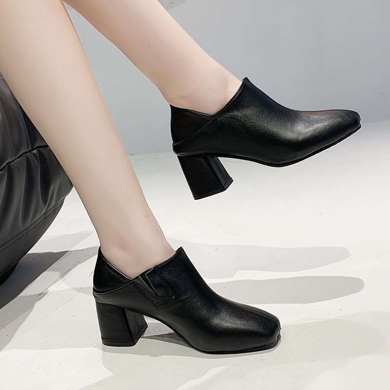 Single Concise  Leather Women Shoes Elegant Square Toe Thick Heels Pumps Famale 2021 Spring Summer S