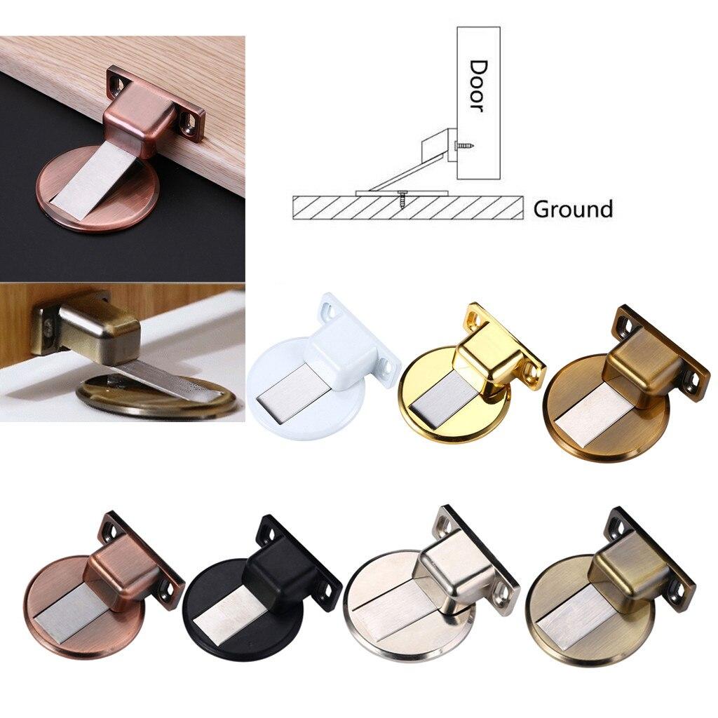 Bloque de puerta Anticolisión de aleación de Zinc Invisible de acero inoxidable no perforado 45 #, topes magnéticos de puerta de succión para el hogar