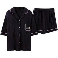Nanjiren Korean Pajamas Cotton Short Sleeve Shorts Women\'s Loose Large Size Summer Home Wear Can Be Worn outside