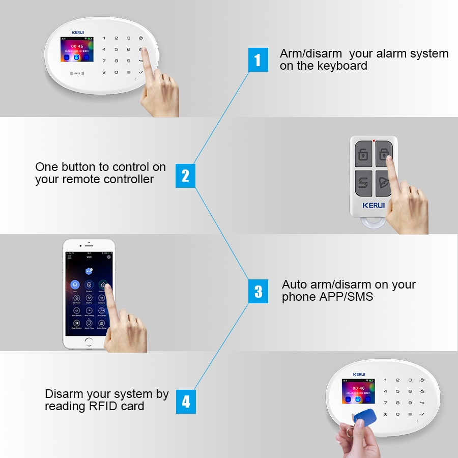 KERUI W20 Smart Home Alarm System 2.4G WIFI Wireless Network Connection GSM APP Fortification Color Screen Touch Keyboard Motion enlarge