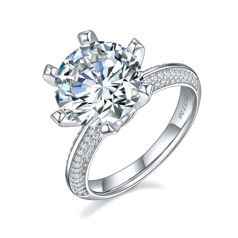 OEVAS 100% 925 Sterling Silver Real 5 Carat Moissanite 6 Claws Classic Wedding Rings For Women Sparkling Engagement Fine Jewelry