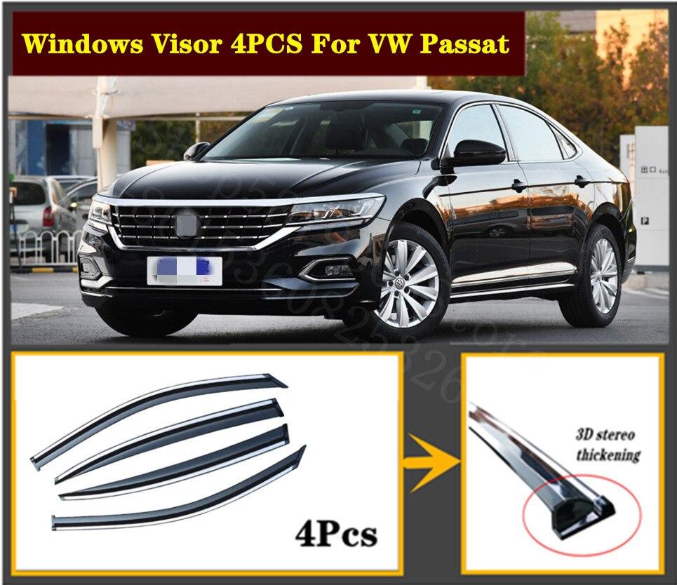 Conjunto de 4 Uds. De parasol para ventana de acero inoxidable VW Passat, para ventilación, viento, lluvia, Deflector, cubierta, 2009-2020 OEM