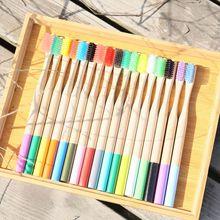(10pcs) Nature Bamboo Brushes Teeth Brushes Painted Handle