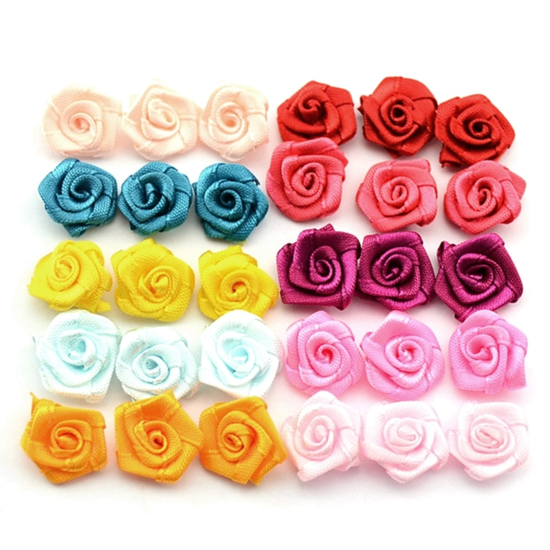 100pcs Satin Ribbon Rose Flower Bow Appliques Wedding Decor Sewing DIY