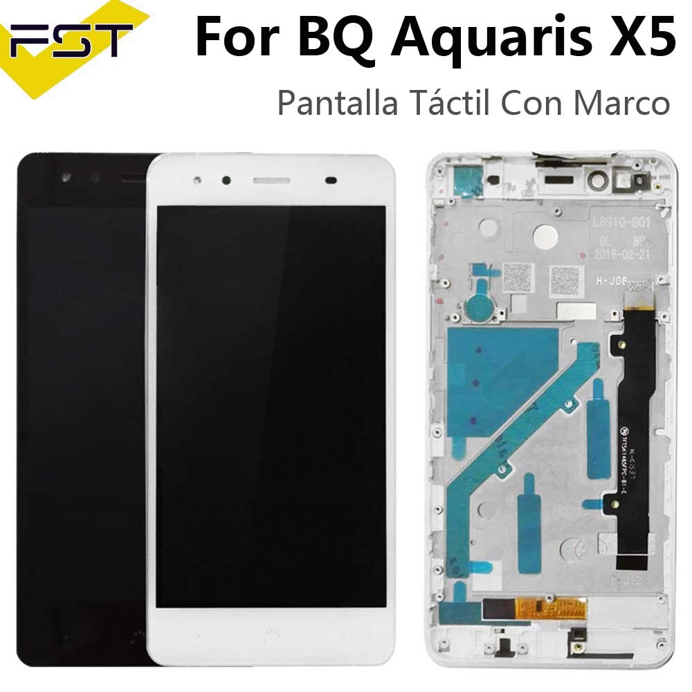 Negro/blanco para BQ Aquaris X5 LCD Display + Touch Screen LCD digitalizador Con Marco de cristal Panel LCD Panel táctil Con Marco para X5
