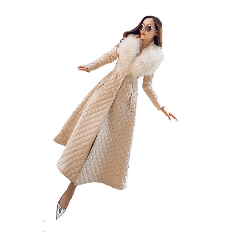 سترة الشتاء النساء 2021 معطف طويل المعين نمط سترات سترات الكورية ملابس عصرية حجم كبير الفراء طوق القطن معطف JD552