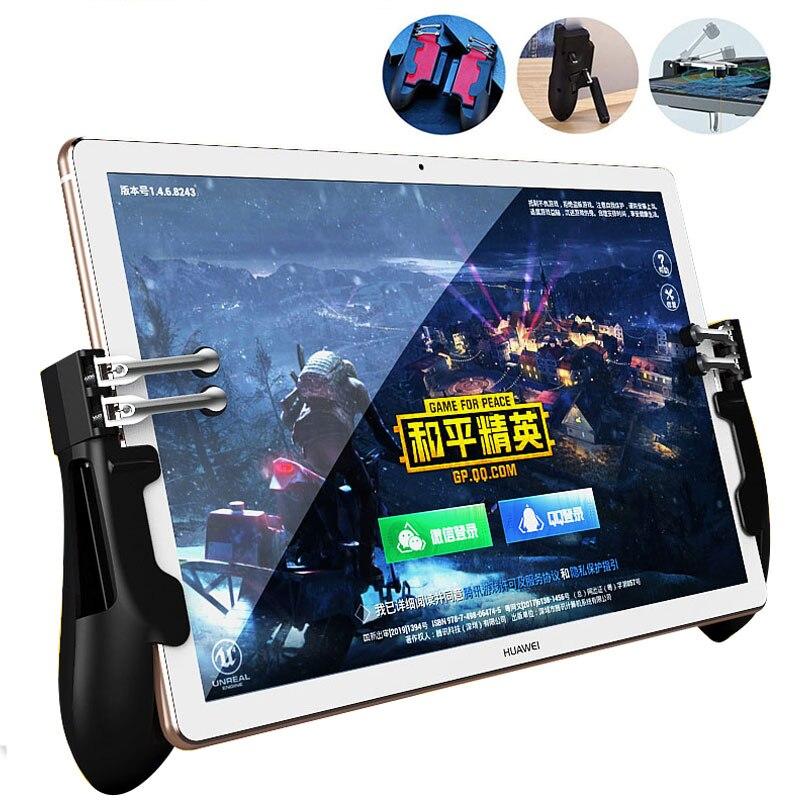 PUBG ipad controlador seis dedos Pubg disparador móvil agarre de GamePad L1R1 Fire Aim botón Joystick para ipad Tablet FPS mango de juego