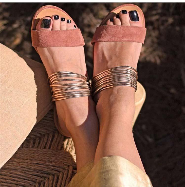 2020 verano sandalias de las mujeres Boca de pescado estilo de Bohemia Sandalias planas señoras zapato de las mujeres deslizamiento en mujer de playa suave Dropshipping. Exclusivo. Sandalias