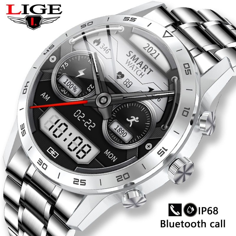 2021 Full Touch Screen Smart Watch Men Heart Rate Blood Pressure Watches Sports Fitness New Steel Ba