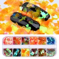mermaid nail sequins for nail decorations 12grids colorful holographics heart pattern transparent nail flakes sequins paillete