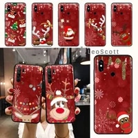 christmas deer happy new year phone case for xiaomi redmi note 7 8 9 t max3 s 10 pro lite funda shell coque cover