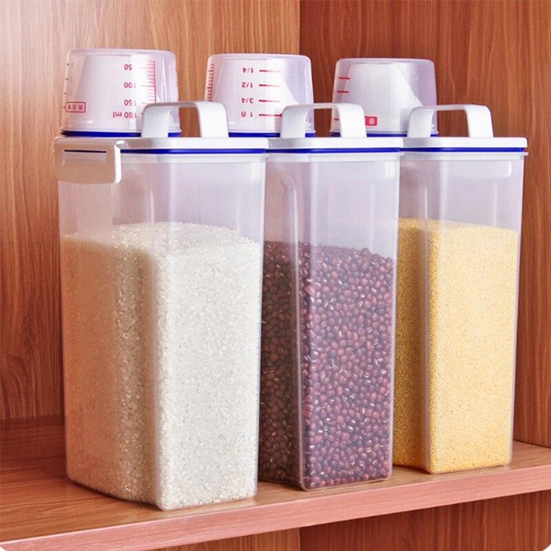 Кухонный Контейнер для хранения, цилиндр для риса с герметичной мукой, кухонный плотный пластиковый контейнер для риса, контейнер для риса, ...
