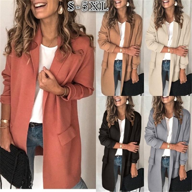 2020 primavera moda Otoño nuevo traje de color liso Collar de manga larga falso bolsillo abrigo vestido casual marea de las mujeres H1060