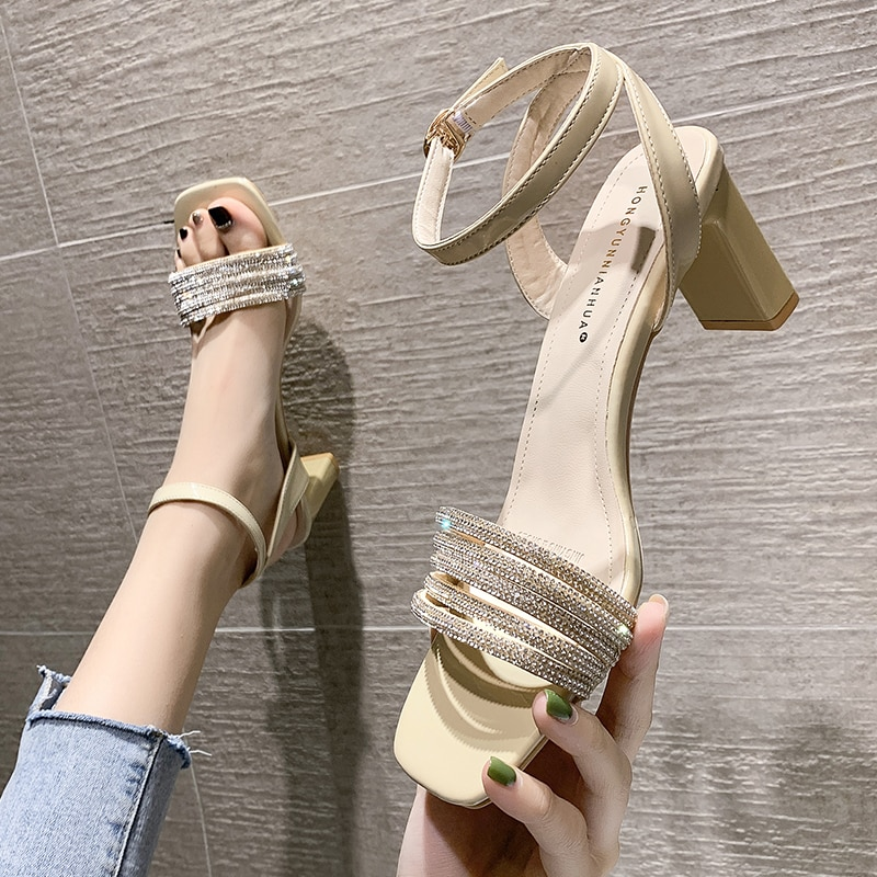 New summer 2021 Women sandals High heeled shoes for fashion nightclub Sequin open toe women's shoes