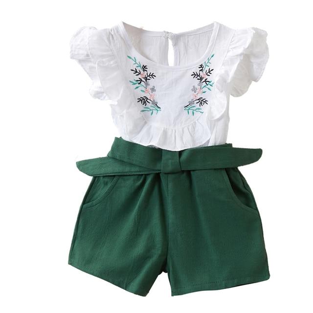 2PCS Cute Girls Sets Clothes Summer Floral Children Clothing Sleeveless T-shirt+Shorts Kids Suit Fashion 3-7T Children Clothes 6