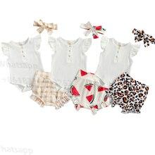 Été casual bébé filles garçons vêtements ensembles volants côtelé manches courtes bouton barboteuse léopard/pastèque/Plaid Shorts bandeau