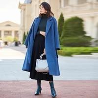 winter warm long wool coat women ladies woolen coats thick blue alpaca overcoat female coat luxury designer coats belt cappotto