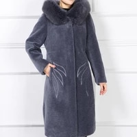 2020 winter jacket clothes natural fur women fox fur collar hooded thick sheep shearling long jackets 6252