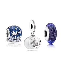 Novo 100% 925 prata esterlina inverno natal charme tarde da noite azul contas de vidro estrela charme definir nobre eterno charme luxo