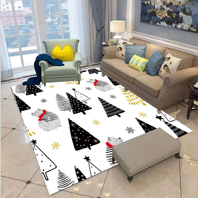 Merry Christmas Carpet 3D Printed Square Anti-Skid Area Floor Mat Rug Non-slip Dining Room Living Soft Style-1