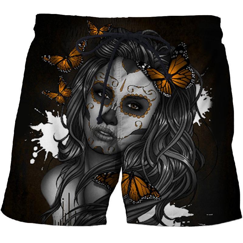 Pantalones cortos de playa negros con flores para hombre y mujer, traje de baño de secado rápido, pantalones cortos divertidos de calle con estampado 3D, 2019 directo de fábrica