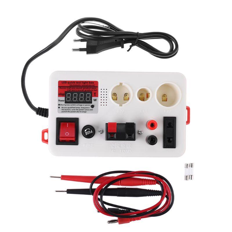 Led caixa de luz de teste rápido testador de energia tensão para e27 b22 e14 lâmpada w buzzer 95aa