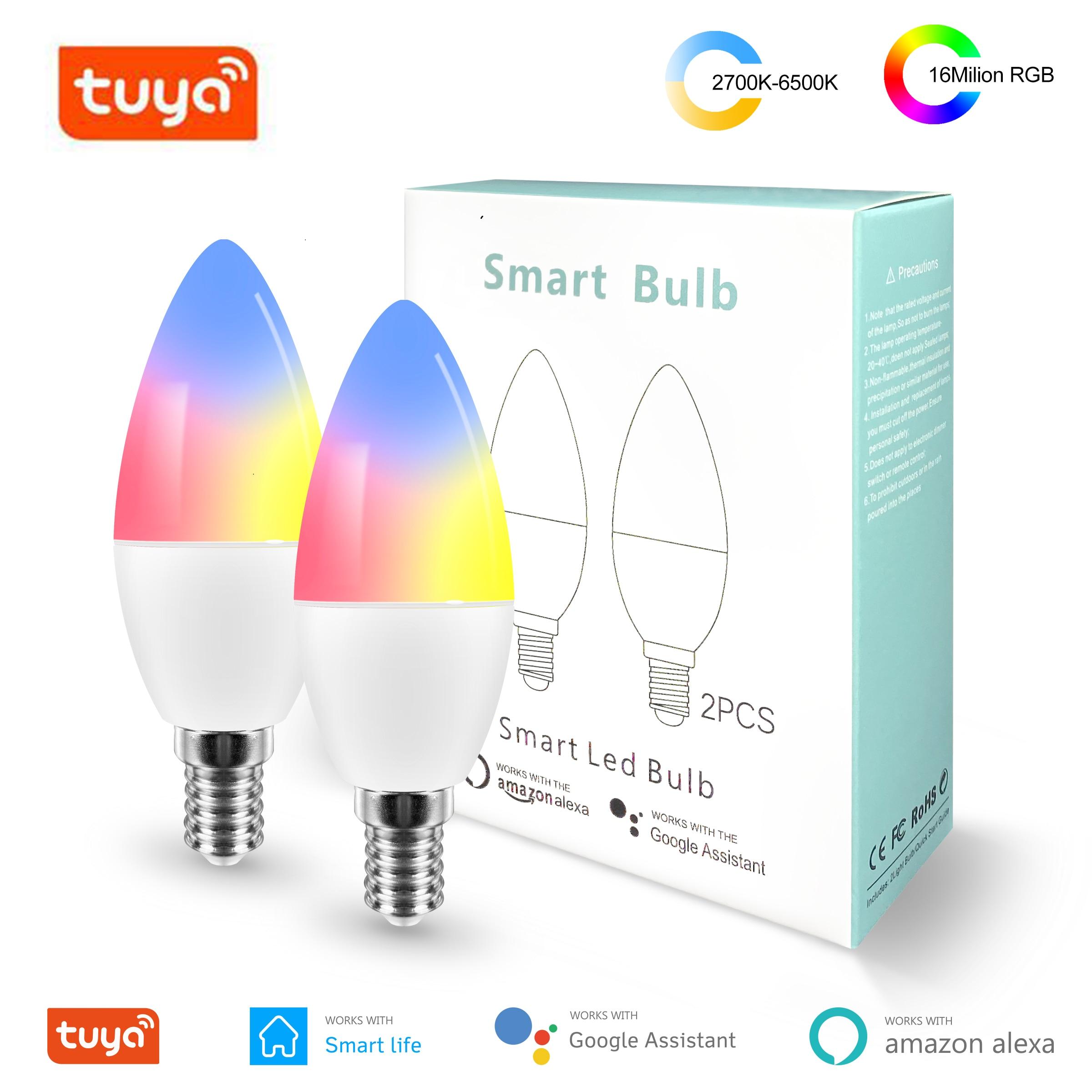 جديد تويا الذكية Wifi LED لمبة E14 ، RGB عكس الضوء ضوء لمبة العمل مع اليكسا صدى جوجل المنزل مساعد ، لا محور المطلوبة ، 2 حزم